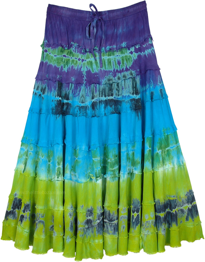 Shore Blues Tie Dye Tiered Rayon Skirt
