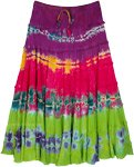 Tie Dye Cocktail Tiered Rayon Multicolored Skirt
