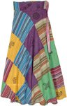 Stonewashed Colorful Cotton Patchwork Wrap Skirt with Symbols