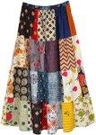 Summer Shine Multi Print Patchwork Bohemian Maxi Skirt