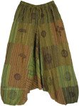 Striped Parched Green Patchwork Aladdin Pants with Mystic Symbols