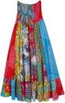 Hippie Carnival Multi Print Dress Skirt with Smocking Waist