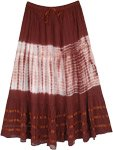 Cinnamon Brown Cotton Skirt with Tie Dye and Ribbon Details