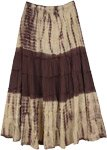 Woody Brown Tie Dyed Tiered Cotton Maxi Skirt