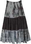 Smokey Grey Tie Dyed Tiered Cotton Maxi Skirt