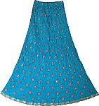 Festive Crinkle Skirt in Eastern Blue