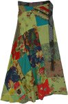 Green Avocado Printed Patchwork Wrap Around Skirt