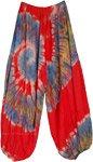 Swirly Red Velvet Tie Dye Hippie Harem Pants