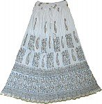 White Golden Block Print Long Skirt