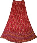 Crinkle Red Long Skirt