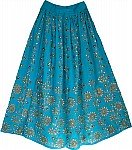 Bondi Blue Sequin Skirt with Floral Motifs