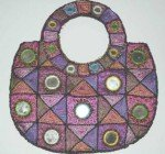 Handmade, Beads & Mirror Work Purse Multicolor Pink