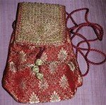Exquisite Gypsy Belly Dance Red Gold Hand Purse