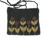 Handmade Beaded Red Rose Formal Evening Purse