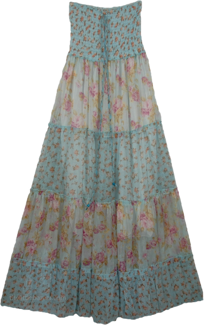 Light Green Floral Long Dress, Cinderella Princess Fashion Dress