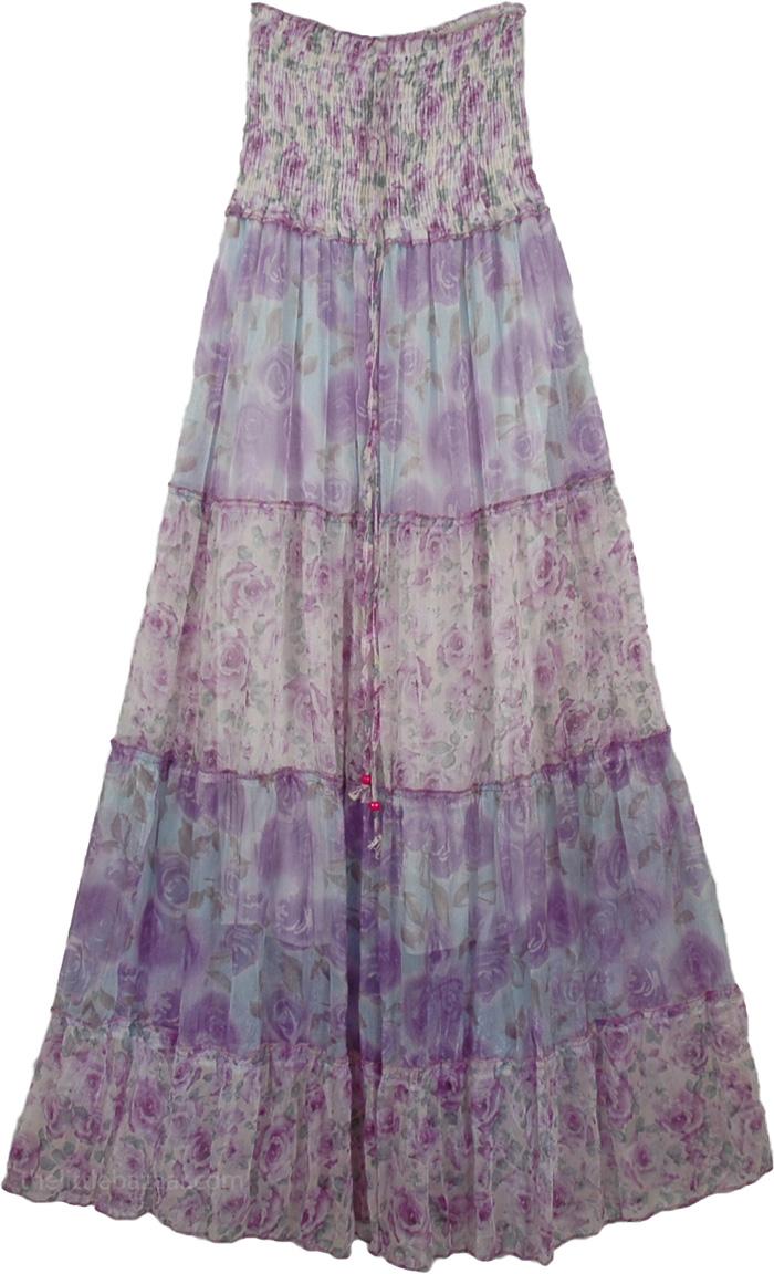 Light Blue Floral Long Dress, Tiana Princess Fashion Dress