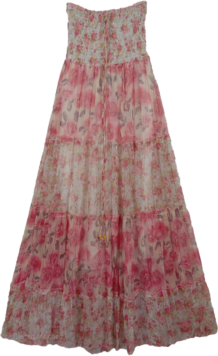 Pink Flowers Long Dress, Rapunzel Princess Fashion Dress