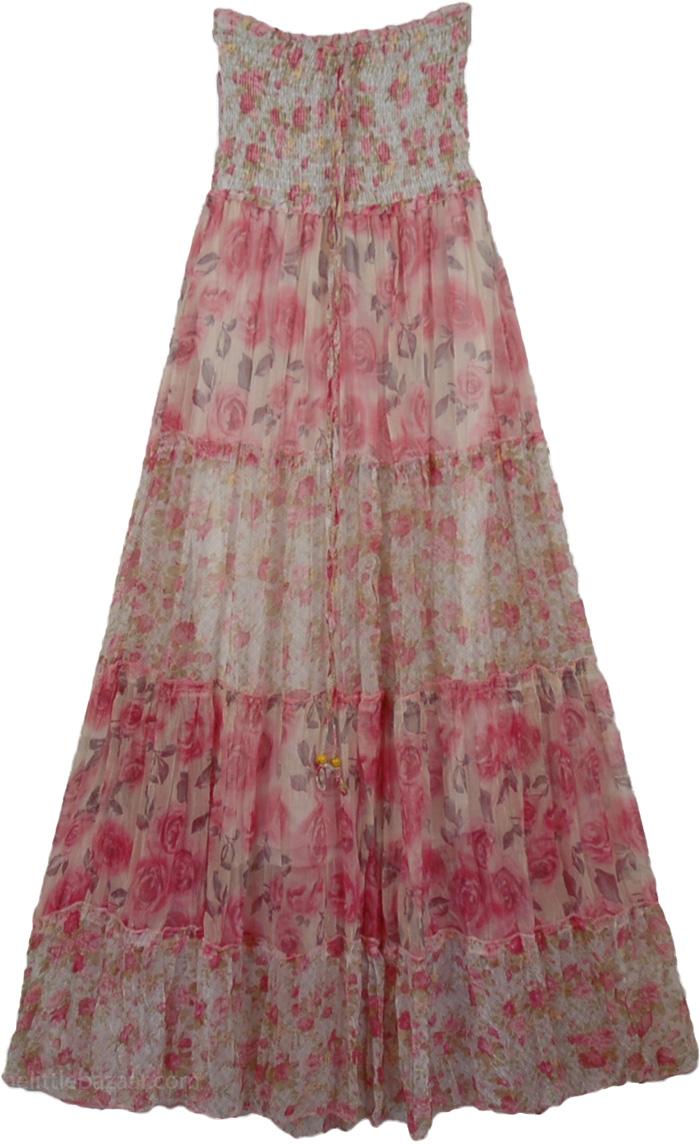 Pink Flowers Long Dress, Rapunzel Princess Fashion Dress
