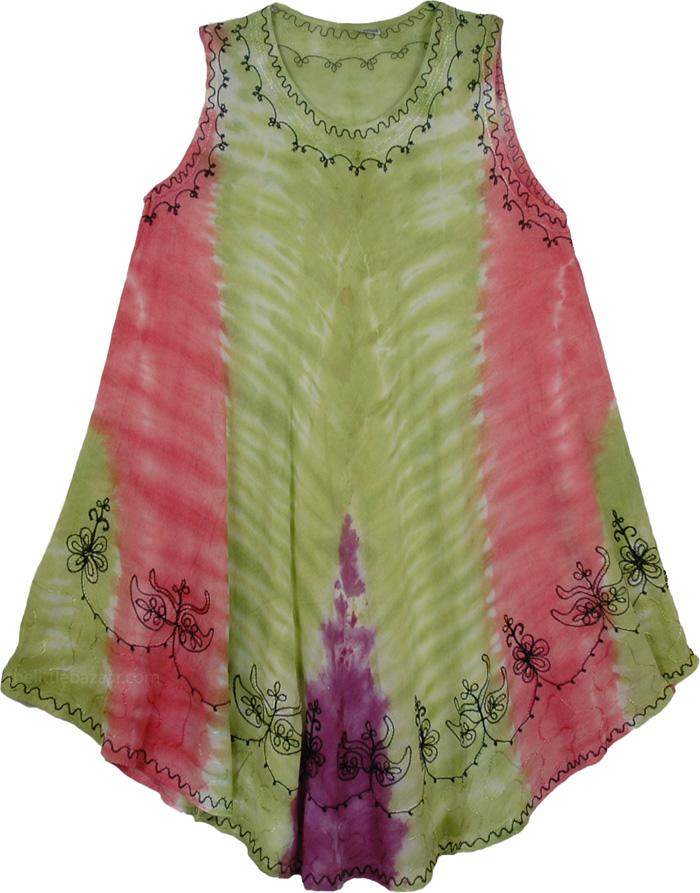 Cool Fun Kaftan Dress, Eclectic Stonewash Swim Cover-Up Dress