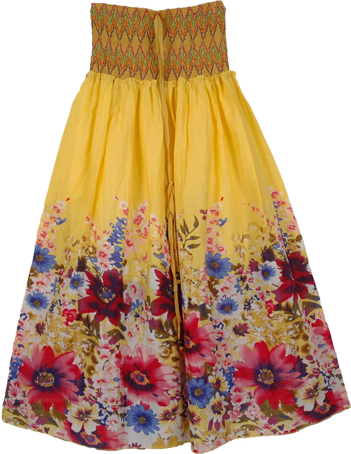 Smocking Indian Yellow Skirt, Gorgeous Yellow Dress Skirt
