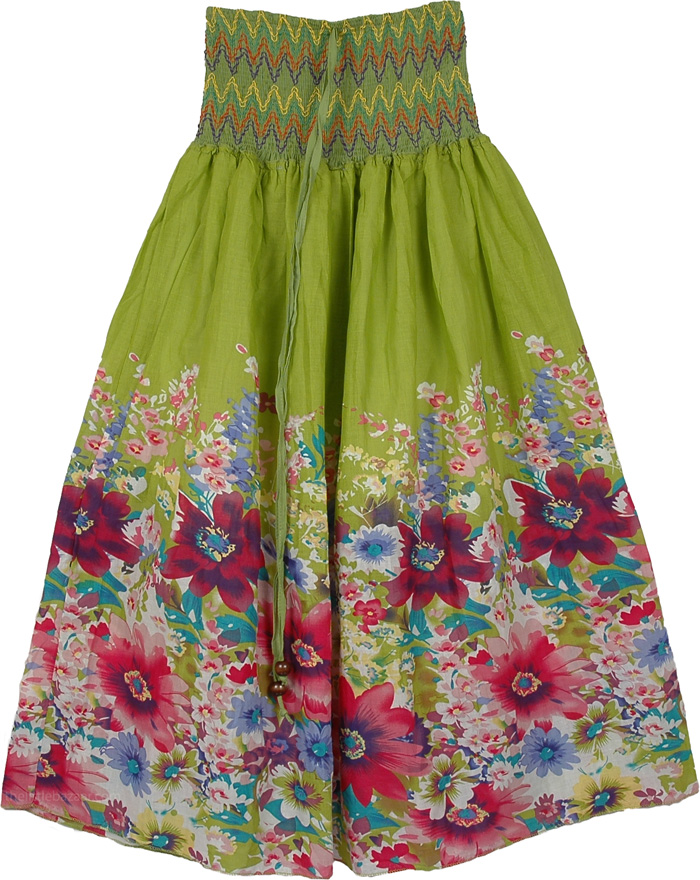 Smocking Indian Green Skirt, Gorgeous Green Dress Skirt