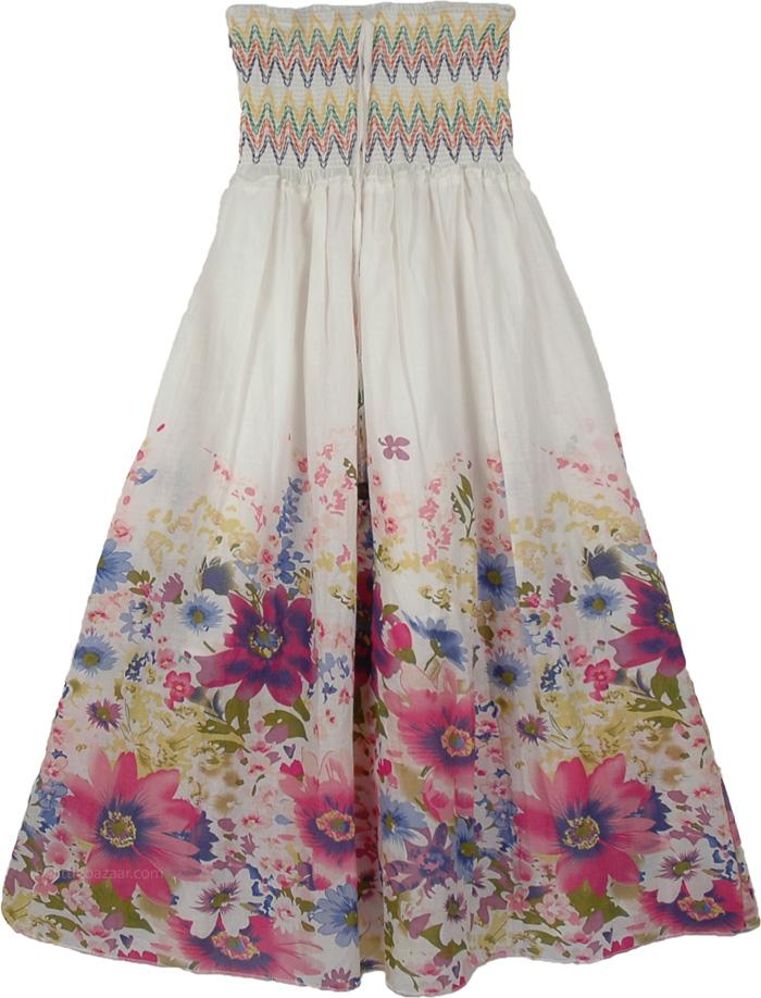 Smocking Indian White Skirt, Gorgeous White Dress Skirt