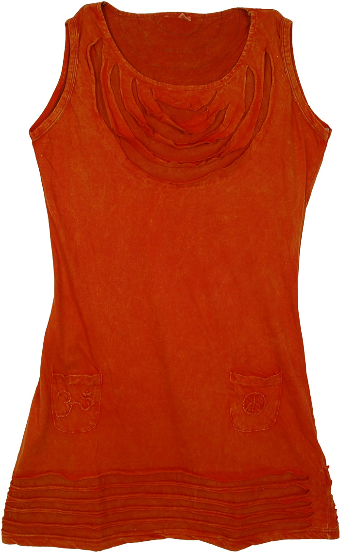 Orange Sleeveless Dress Wear, Bright Orange Meditation Dress