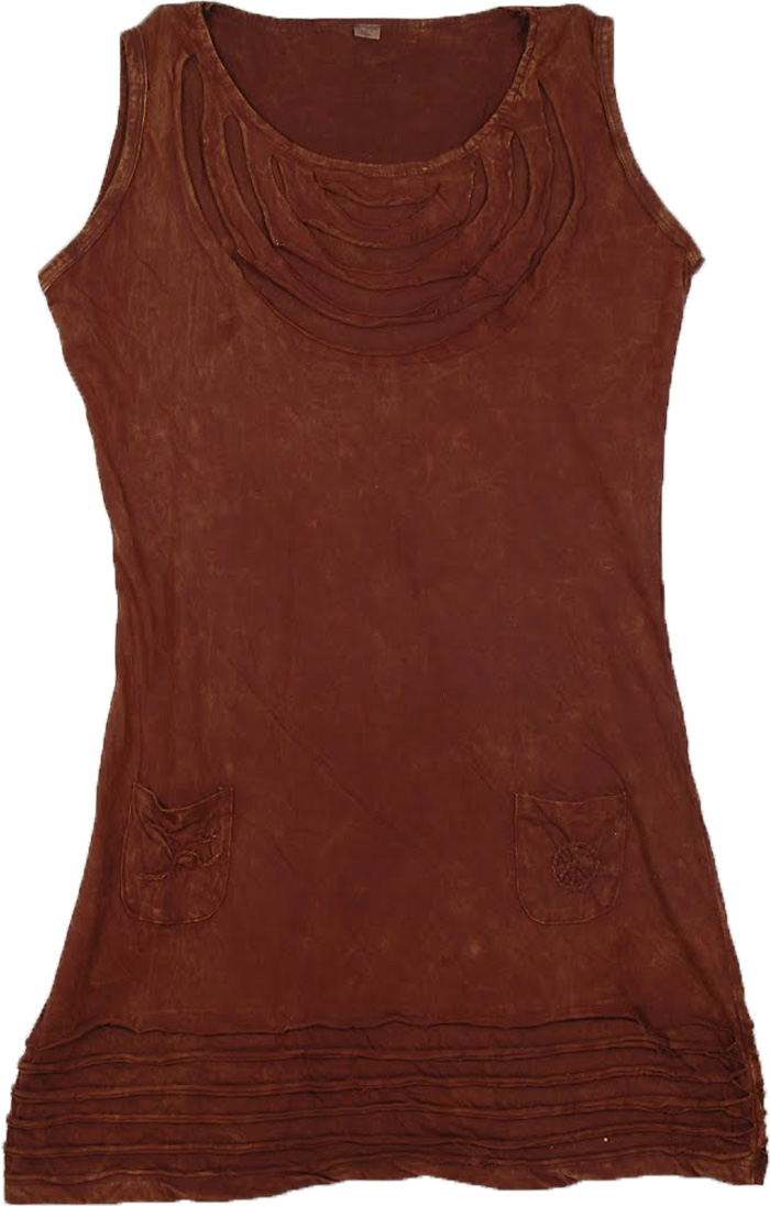 Brown Layer Cut Dress, Brown Derby Summer Sleeveless Dress