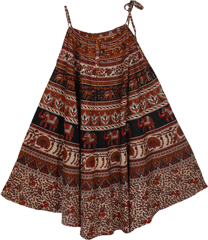 Animals Indian Clothing Long Dress, Animal Print Cotton Cover Dress