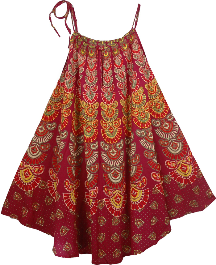 Red Indian Wrap Long Dress, Tamarillo Print Cotton Cover Dress