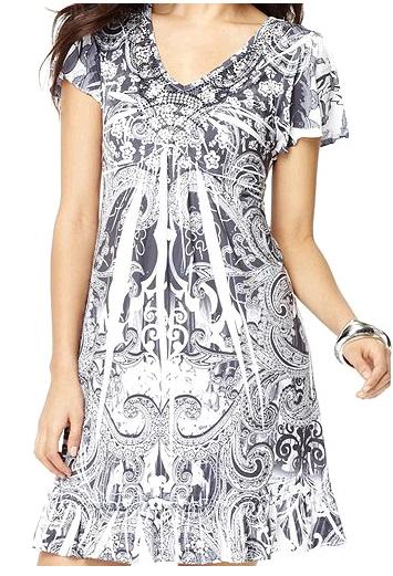 Flutter Sleeve Black White Summer Dress