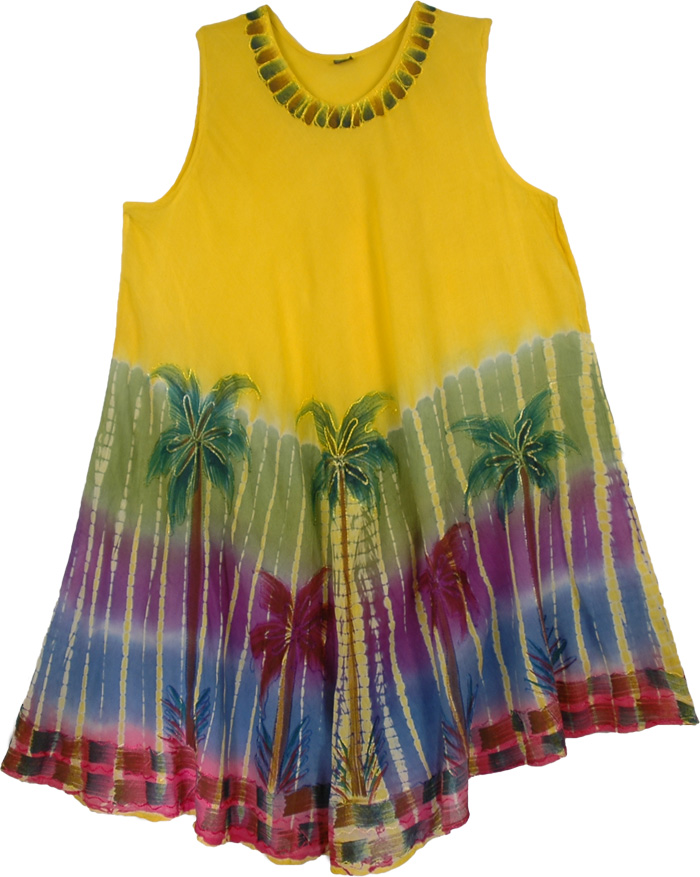 Palm Spring Yellow Kaftan Dress, Yellow Palm Beach Coverup