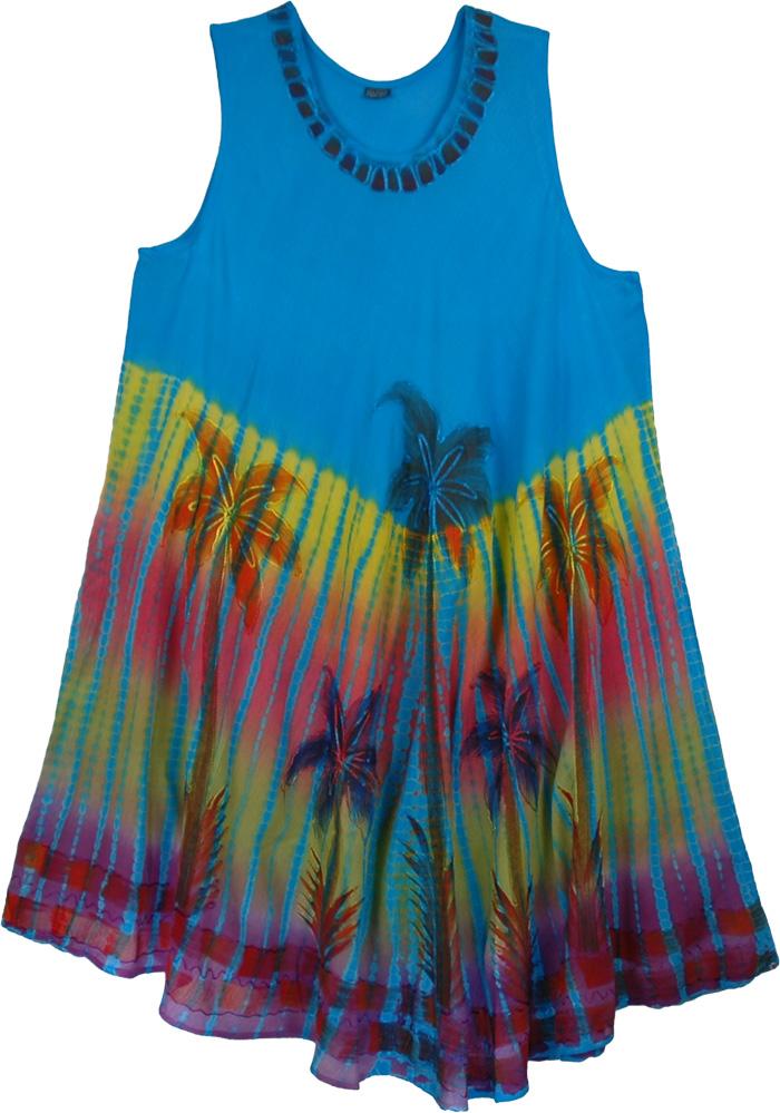 Palm Spring Blue Kaftan Dress, Turquoise Palm Beach Coverup