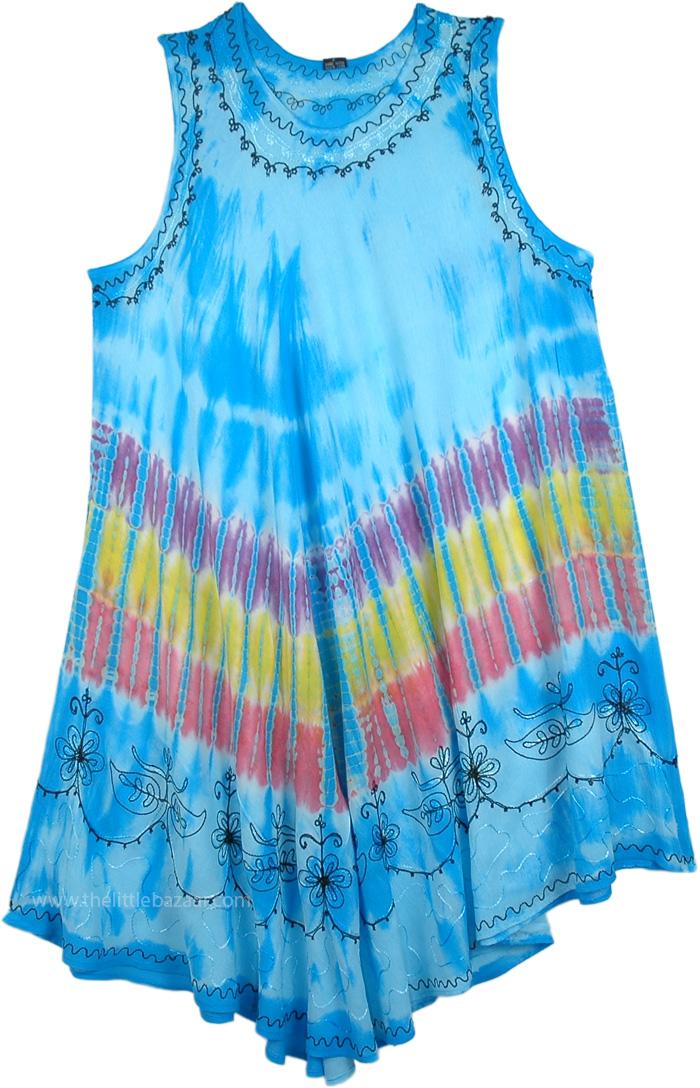 Leisurely Lounge Dress in Maya Blue , Beach Lovers Tie Dye Sundress