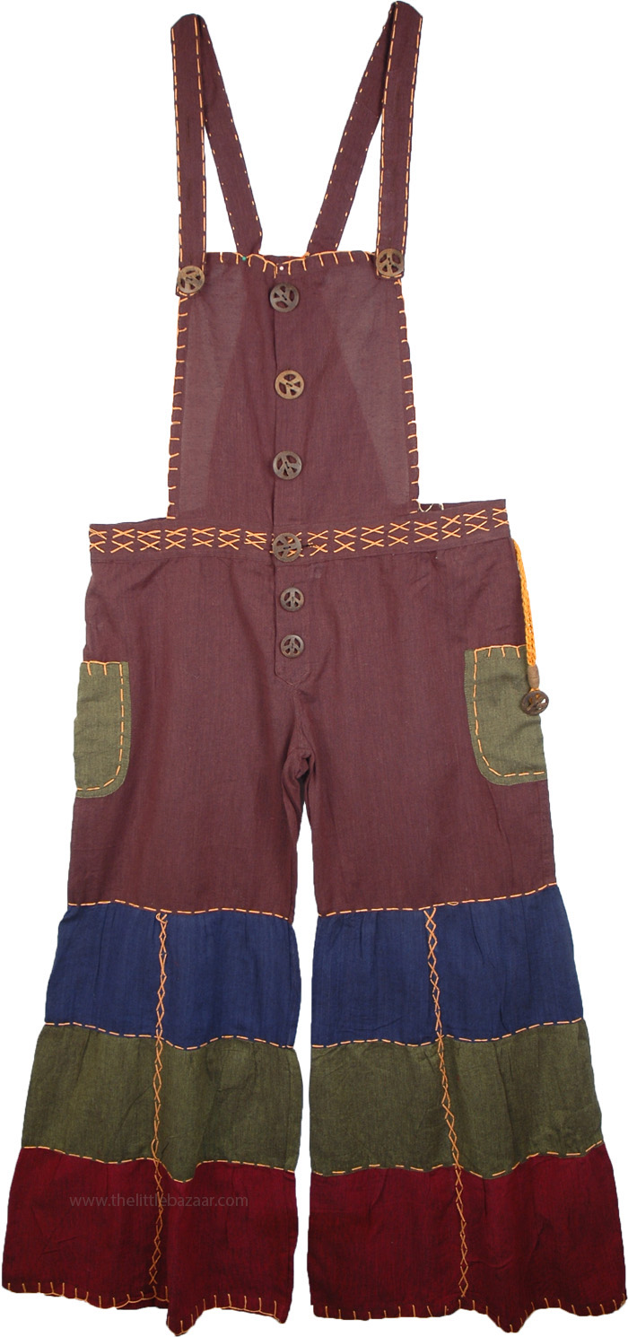Bohemian Patchwork Overalls in Purple, Groovy Artist Purple Capri Patchwork Overalls