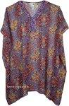 Sheer Printed Short Kaftan Poncho Top [4396]