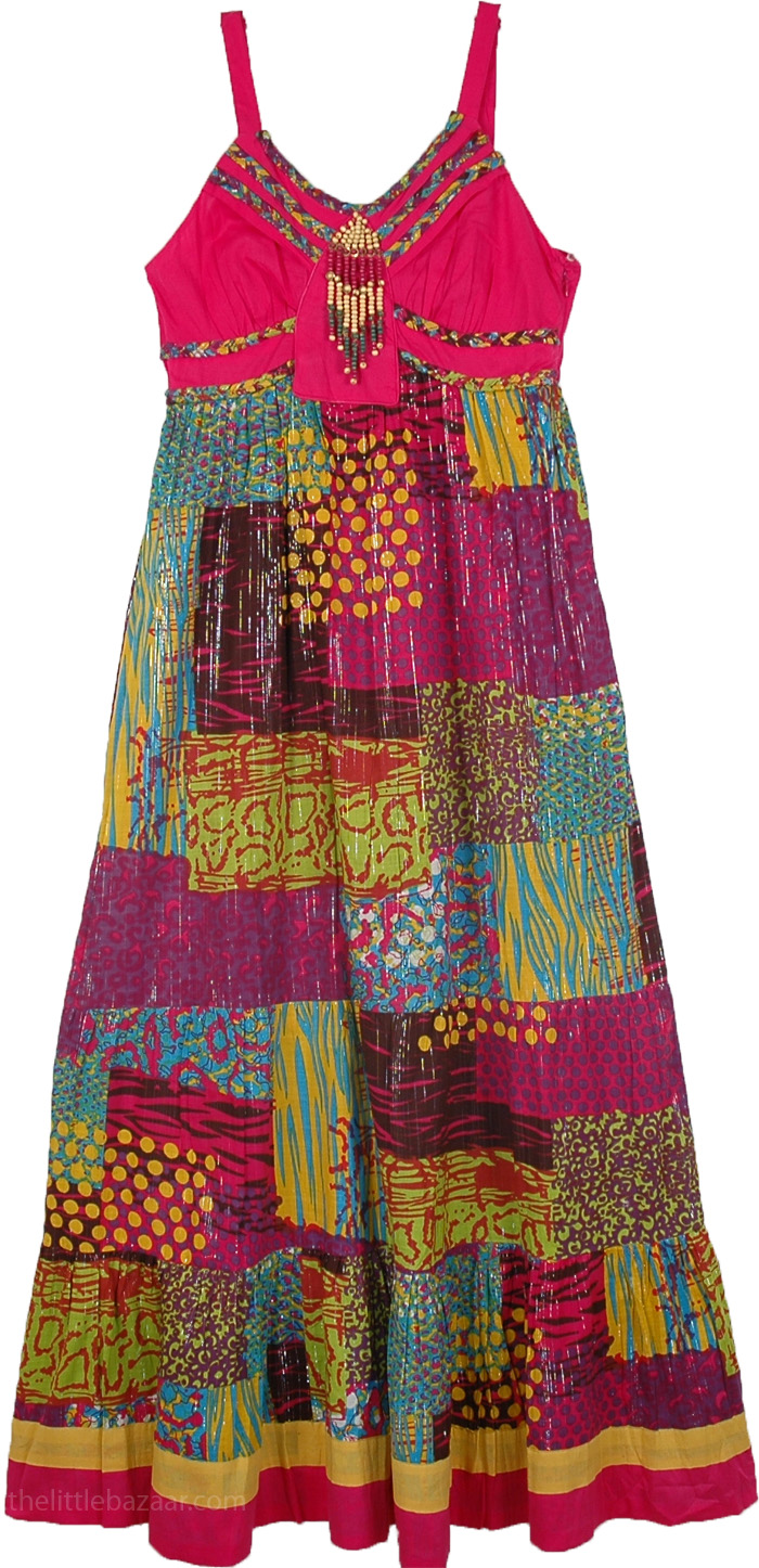 Tinsel Patchwork Ethnic Dress in Pink, Spaghetti Strap Patchwork Sleeveless Maxi Dress