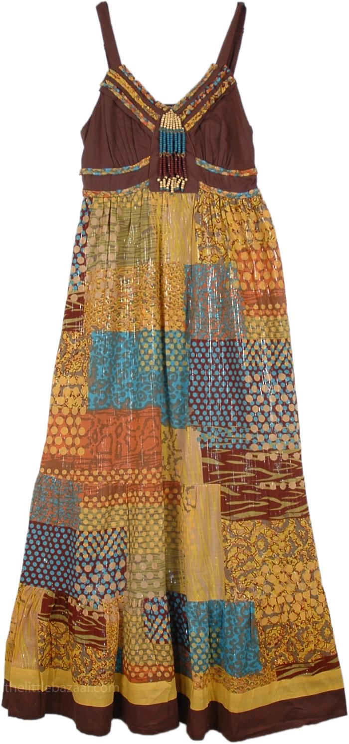 Tinsel Patchwork Ethnic Dress in Chocolate Brown, English Walnut Bohemian Patchwork Long Maxi Dress