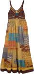 English Walnut Bohemian Patchwork Long Maxi Dress