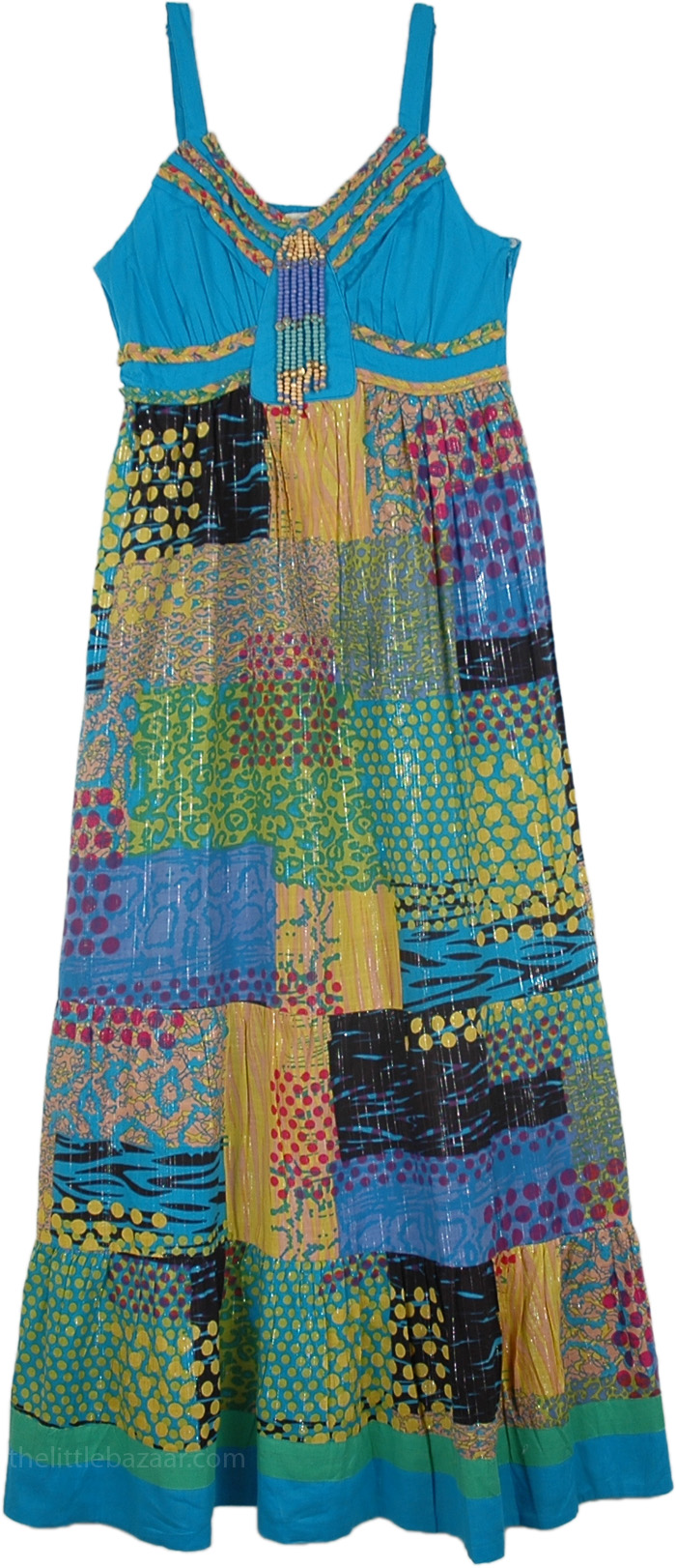 Tinsel Patchwork Ethnic Dress in Ocean Blue, Blue Chill Bohemian Patchwork Long Sundress