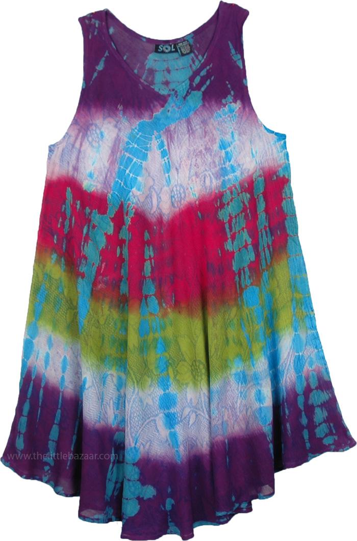 Funky Boho Womens Sundress, Sleeveless Dyed Sundress with Floral Back Splash
