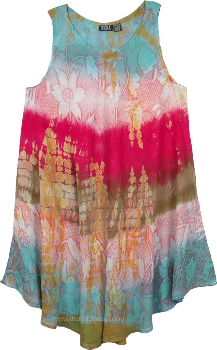Resort Wear Womens Sundress, Akatsuka Orchid Hawaiian Beach Dress