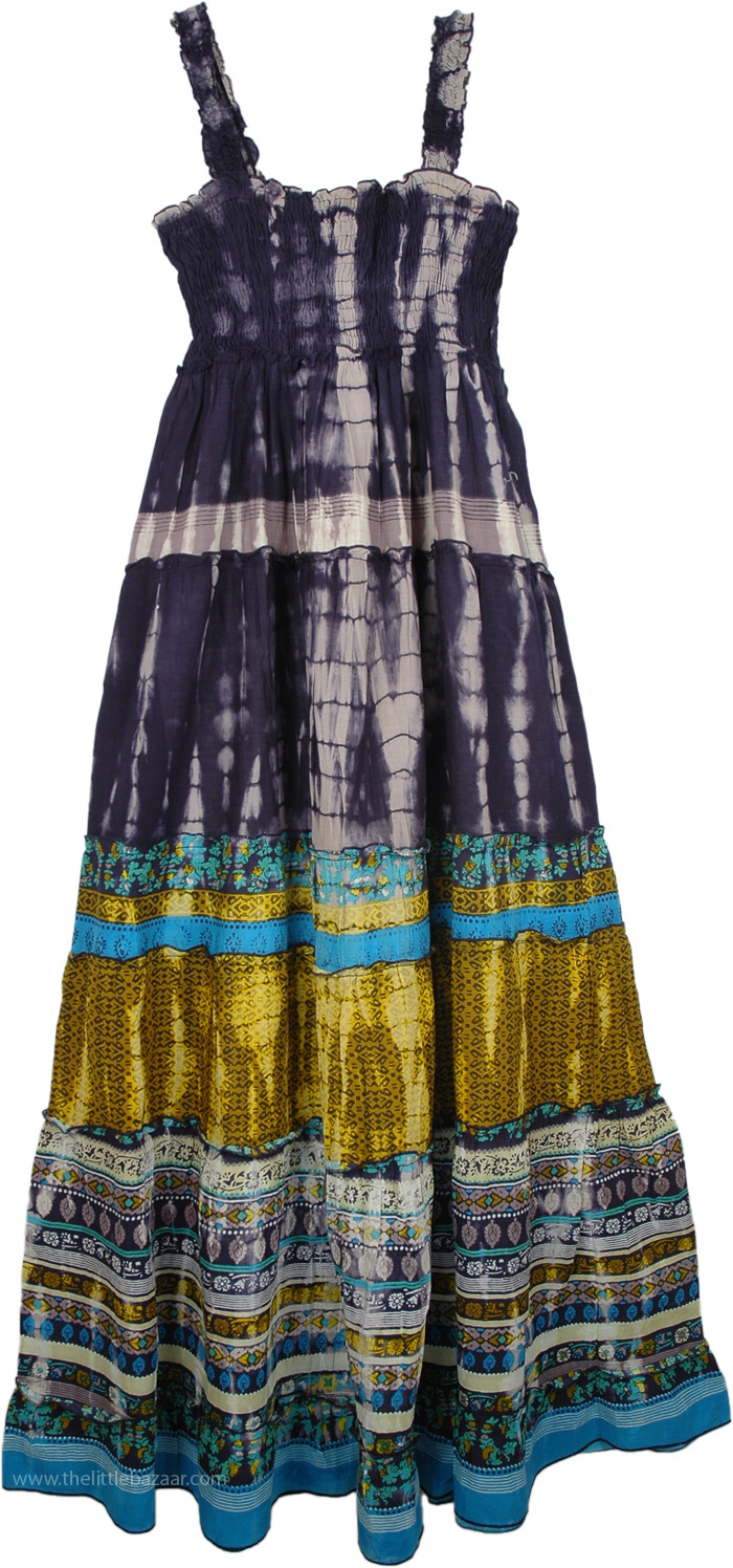 Maxi Cotton Summer Dress in Navy Printed