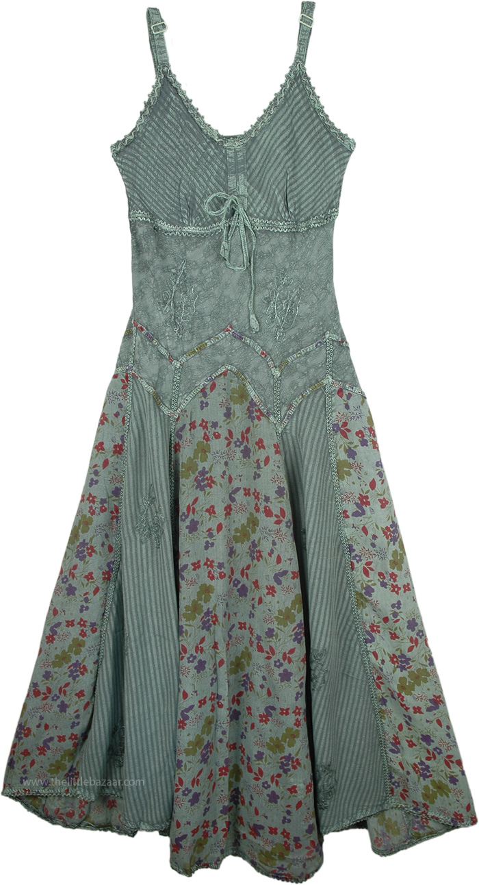 Embroidered Rayon Dress in Green Printed, Women`s Fern Green Rayon Long Dress