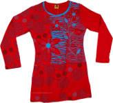 Red Razor Cut Printed Dress [4613]