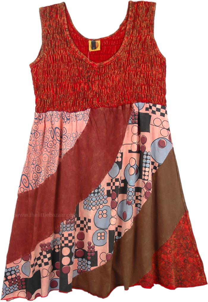 Cotton Short Dress in Stonewash Red, Burnt Umber Patchwork Boho Dress