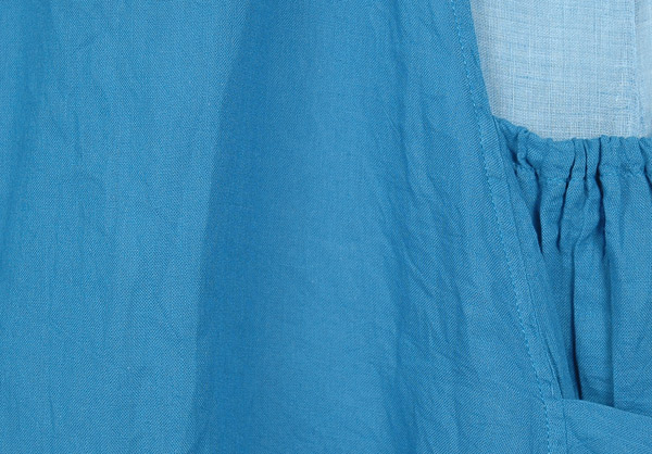 Double Layered Urban Cotton Tunic Dress in Blue