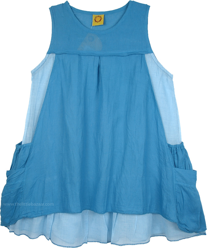 Casual Sleeveless Short Dress in Blue, Double Layered Urban Cotton Tunic Dress in Blue