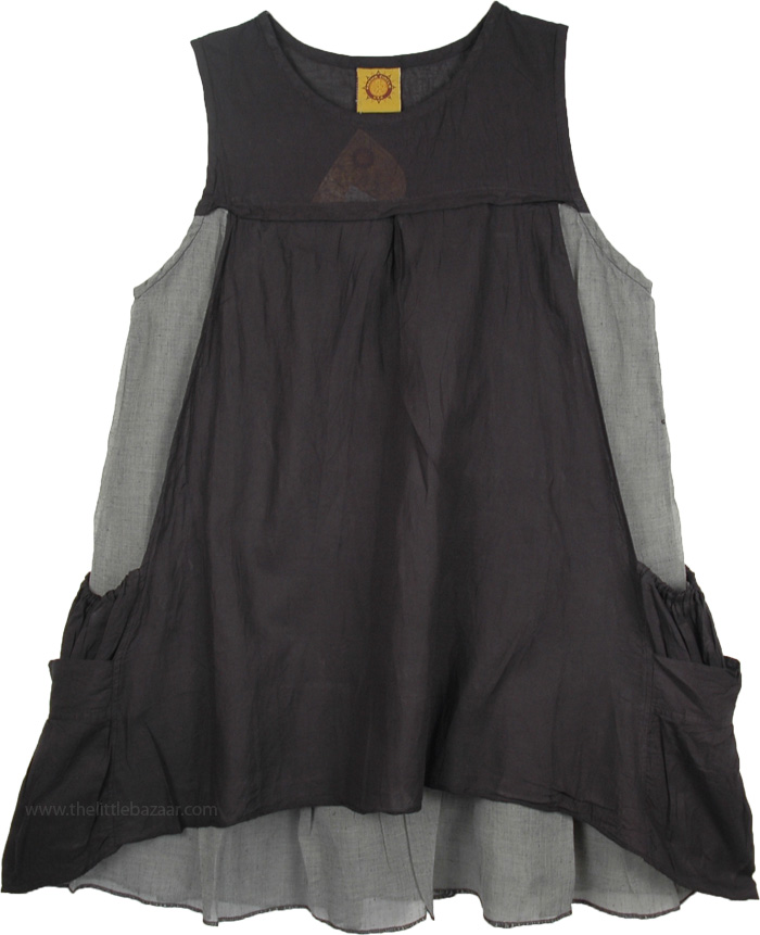 Casual Sleeveless Short Dress in Black, Black Double Layered Cotton Tunic Dress
