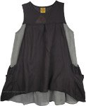 Casual Sleeveless Short Dress in Black [4616]